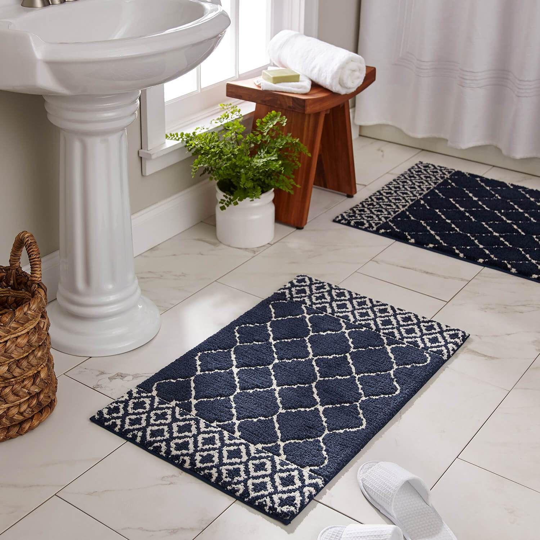 Compass Naval Blue Bath Mat Bathroom Rugs Bath Rug Bath Rugs [ 1500 x 1500 Pixel ]