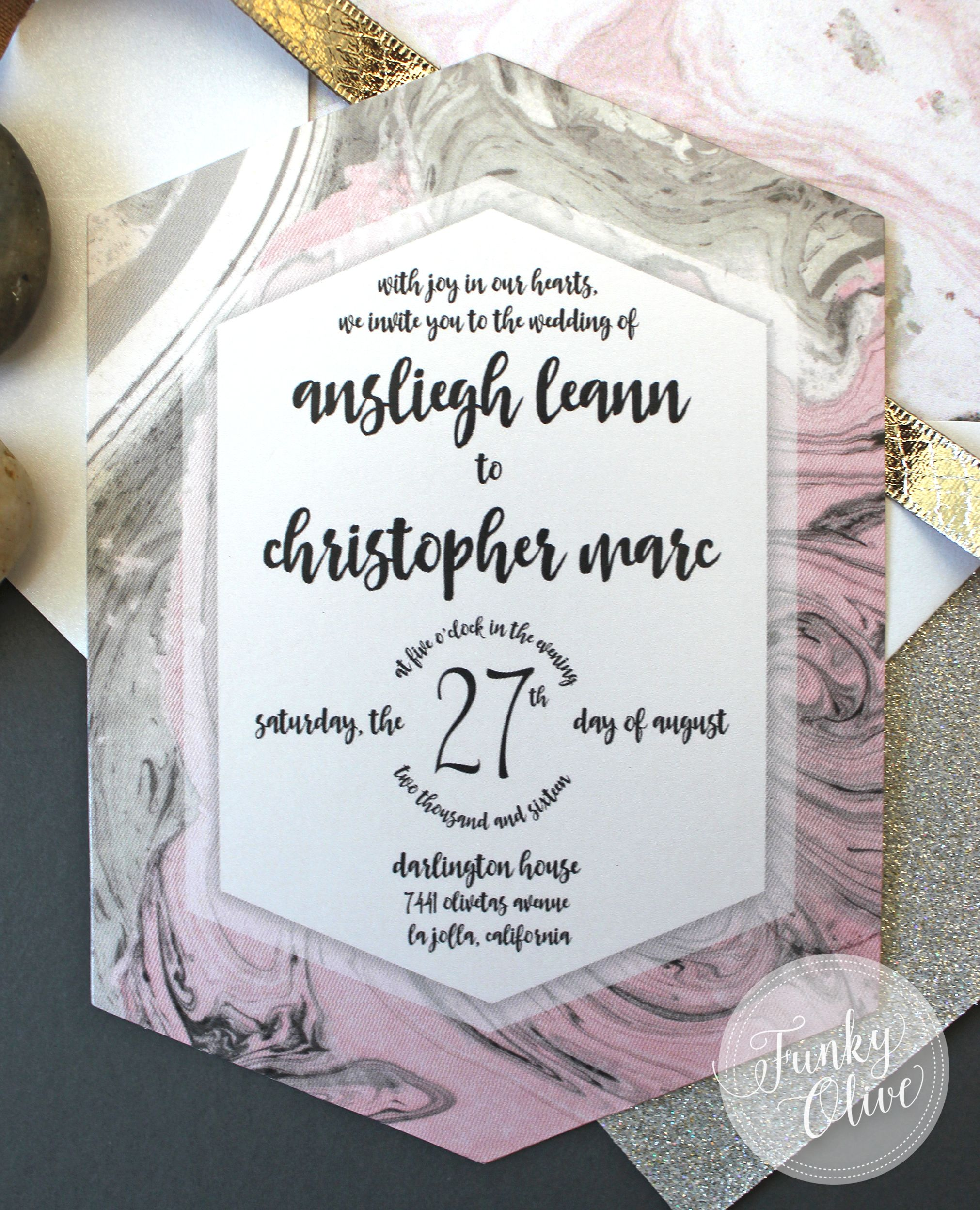 Hexagon Marble Invitationshexagon Wedding Invitation