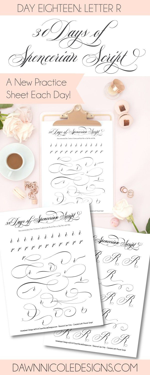 Spencerian Script Style Letter R Worksheets Worksheets 30th And