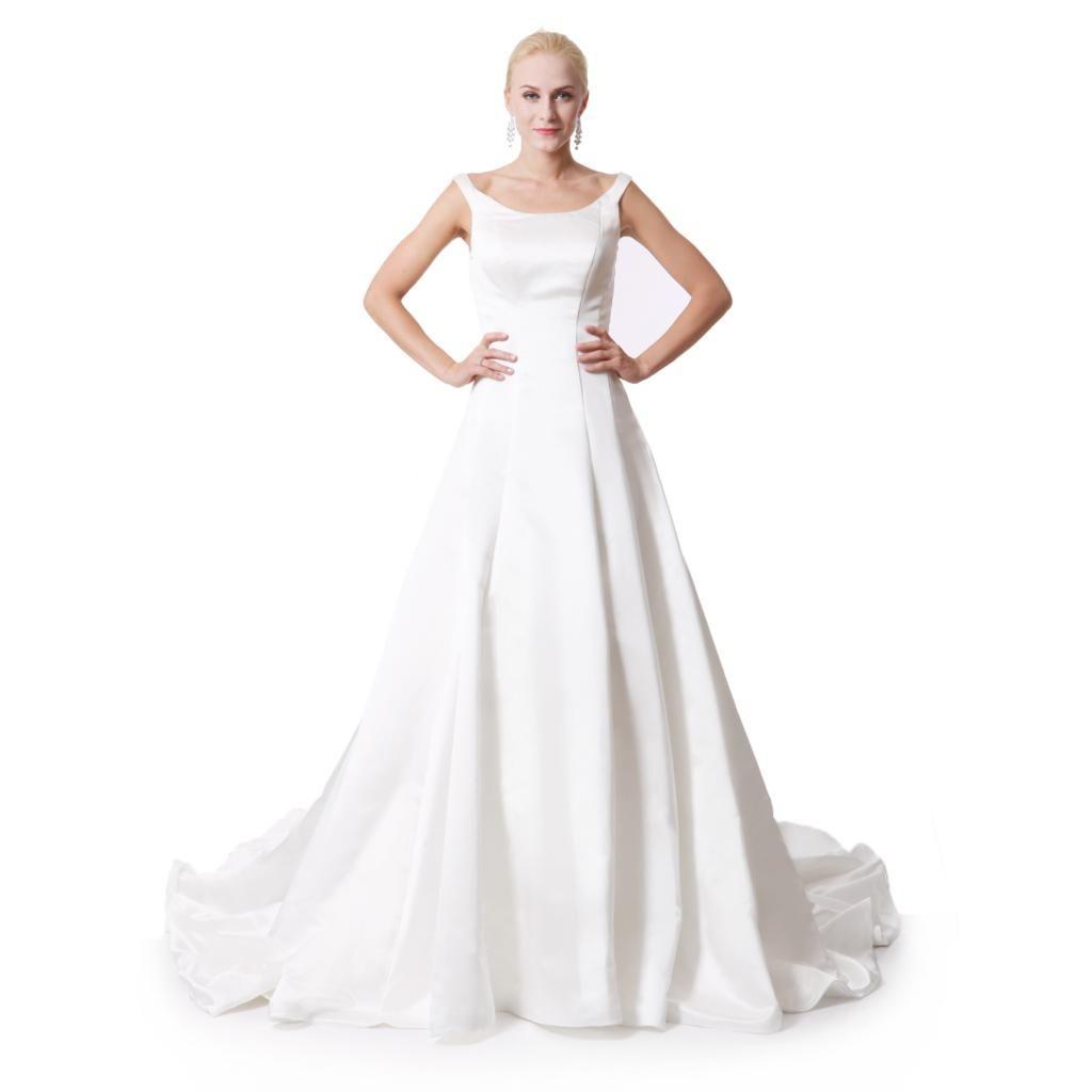 Plus size retro wedding dresses   new satin empire wedding dresses plus size floor length Ivory