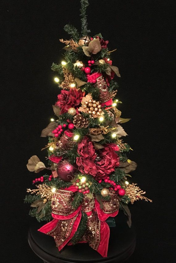 christmas topiary tree jewelled ribbon cordless 35 led light auto timer holiday decor timer ruby red jewelled ribbons