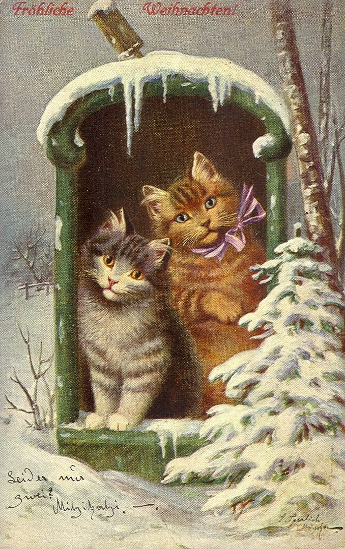 Vintage German Christmas Card with Cats in Mailbox | Cartes de