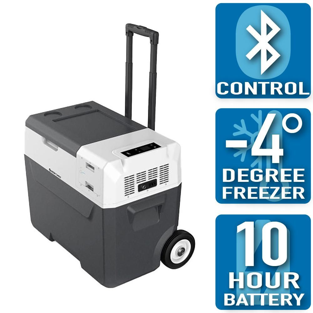 Acopower Lioncooler 42 Qt Battery Powered Portable Chest Fridge Freezer Cooler W 10 Hour Run Time Recharge Using Solar Dc Ac X40c The Home Depot In 2020 Portable Fridge Storage Wheels Fridge Freezers