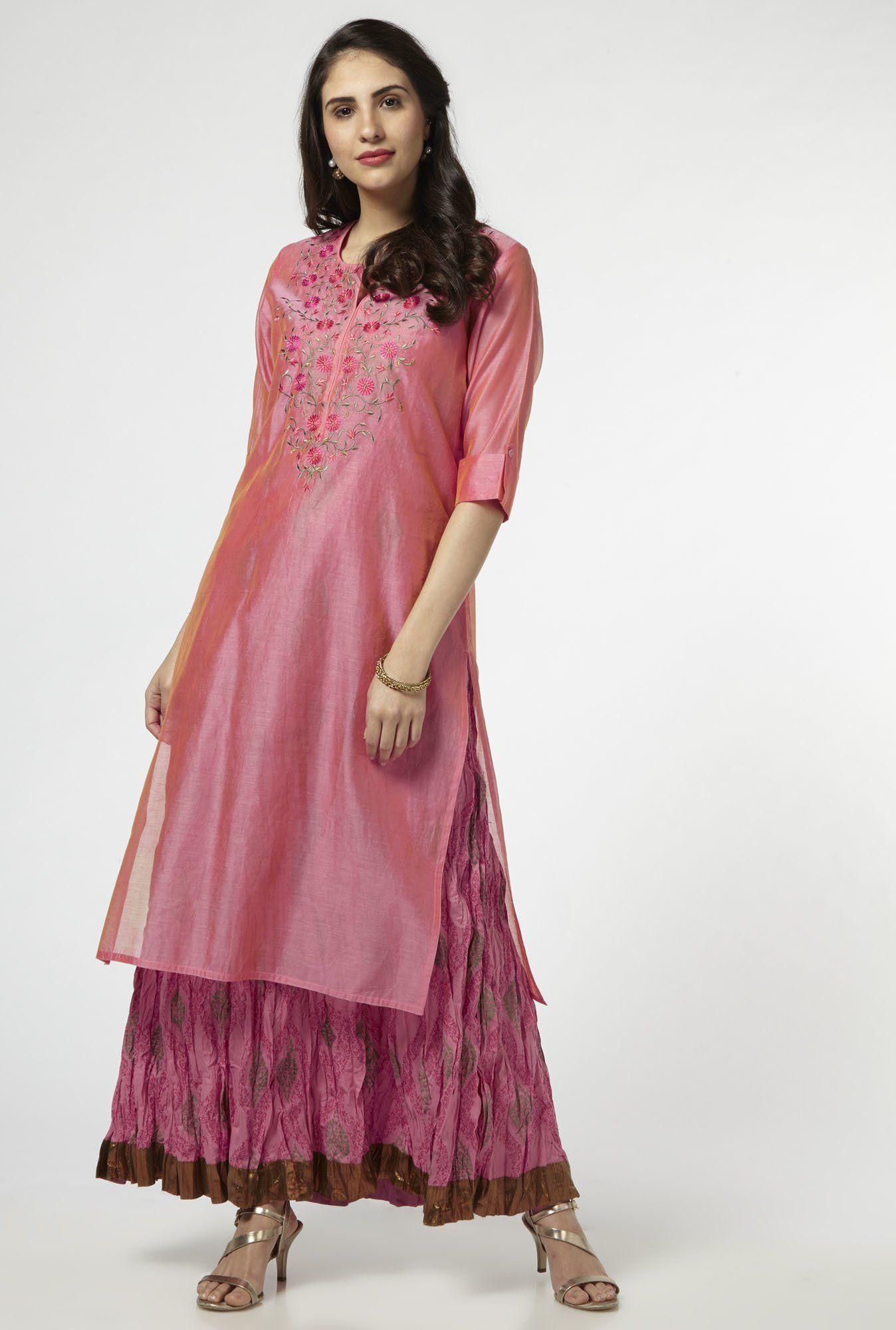 d9608c805 Vark by Westside Pink Ethnic Set | Women | Layered kurta, Kurti ...