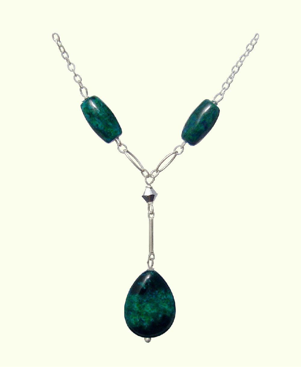 Chrysocolla blue green teardrop 925 sterling silver necklace chrysocolla blue green teardrop 925 sterling silver necklace handmade natural stones jewelry aloadofball Choice Image