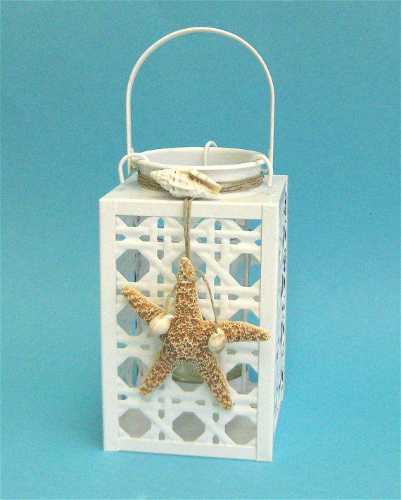 White Lantern With Starfish And Seashells