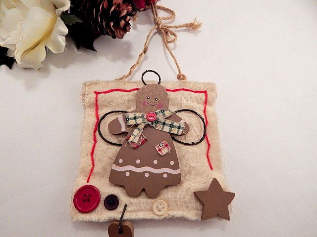 Gingerbread Girl Angel Christmas Tree Ornament Rustic Wall Hanging Holiday Decor