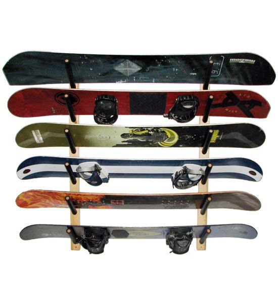 Snowboard Rack - Angled stores 6 3 2 or 1 snowboards depending on the model. It's made of pine and easy to install using included hardware.