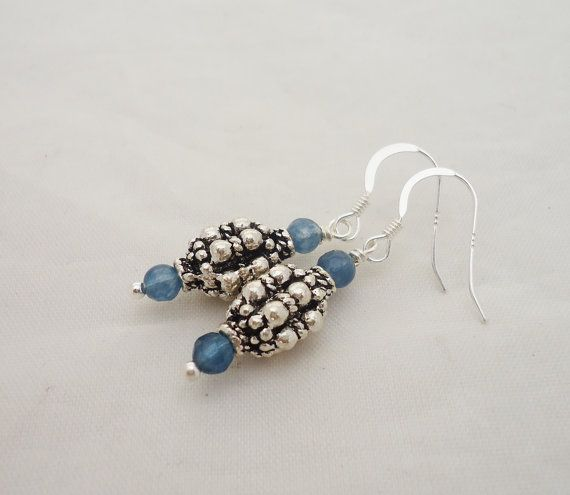 Blue Crystal and Silver Tube Earrings Blue by evecollection