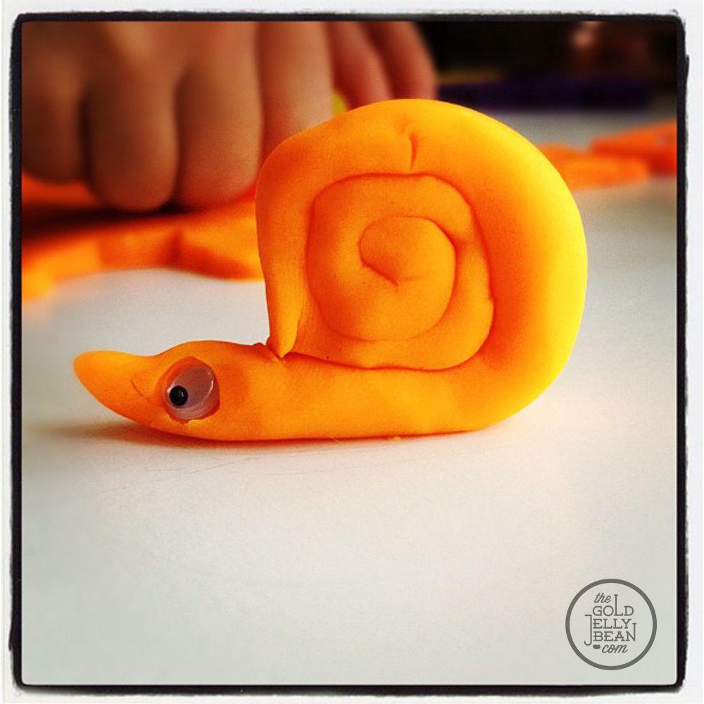 play-doh and googly eyes fun snail