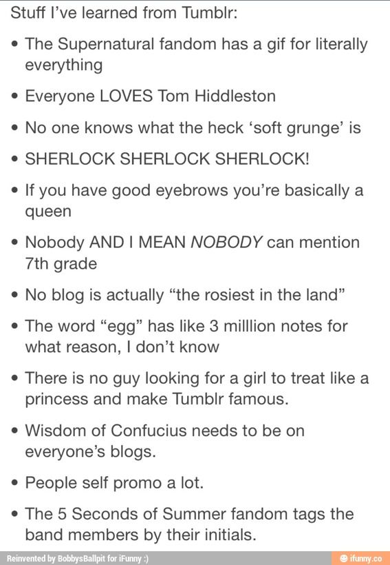 they forgot to add the porn. and Supernatural. And Doctor Who. And basically a lot of stuff that is Tumblr