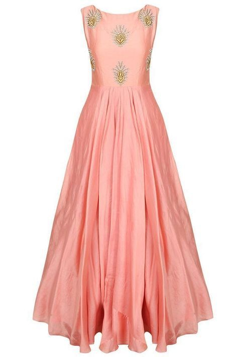 FatimaBi Plus size Peach Gown Raw Silk Hand embroidered Floor length ...
