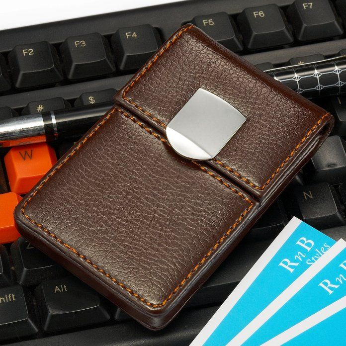 Unique Business Card Holder Case For Men Brown Leather Look ...