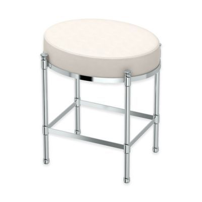Enjoyable Oval Vanity Stool With White Seat Cushion In Chrome In 2019 Bralicious Painted Fabric Chair Ideas Braliciousco