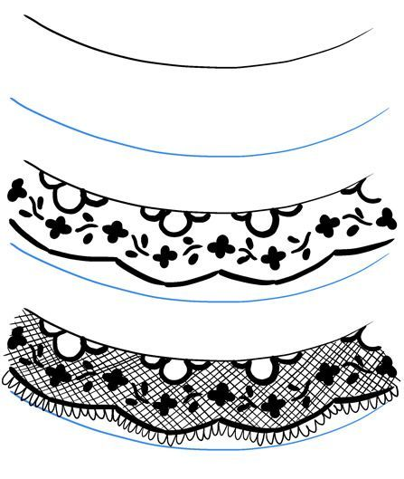 Lace Might Look Fiddly To Draw But As Long As You Start With The More Prominent Parts Of The P Lace Drawing Flower Pattern Drawing Illustration Fashion Design