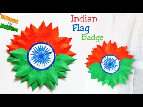 aa1b23db9a2a7 YouTube Diy independence badge  Indian tricolor badge making badge for  kids 15august badge ideas Indian flag badge paper badge