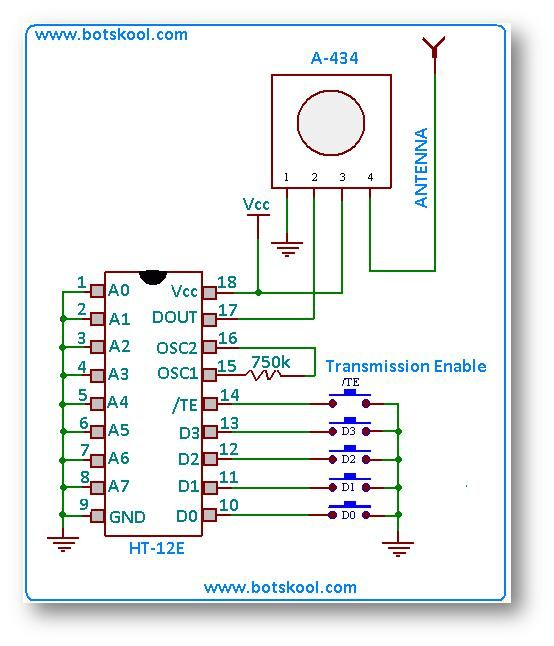 4 kanal rf uzaktan cihaz kontrol devresi ht12d ht12e ...