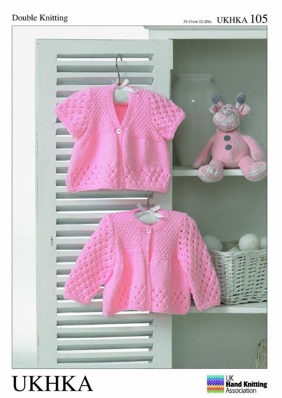 f957432c4 Knitting pattern by UKHKA DK 105 Knitted in DK size 12-20 inch chest  instructions are for a 3 styles of cardigans will suit a girl or boy nice  easy clear ...