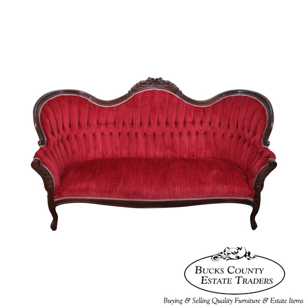 Antique furniture - Kimball Solid Mahogany Frame Victorian Style Tufted Sofa Tufted