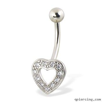 14K solid white gold jeweled hollow heart belly button ring