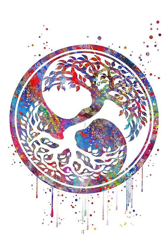 Tree of life watercolor, yin and yang symbol, Tree Of Life, Tree Art, Nature Art, Meditation Art, watercolor tree, spiritua art Poster by Rosaliartbook