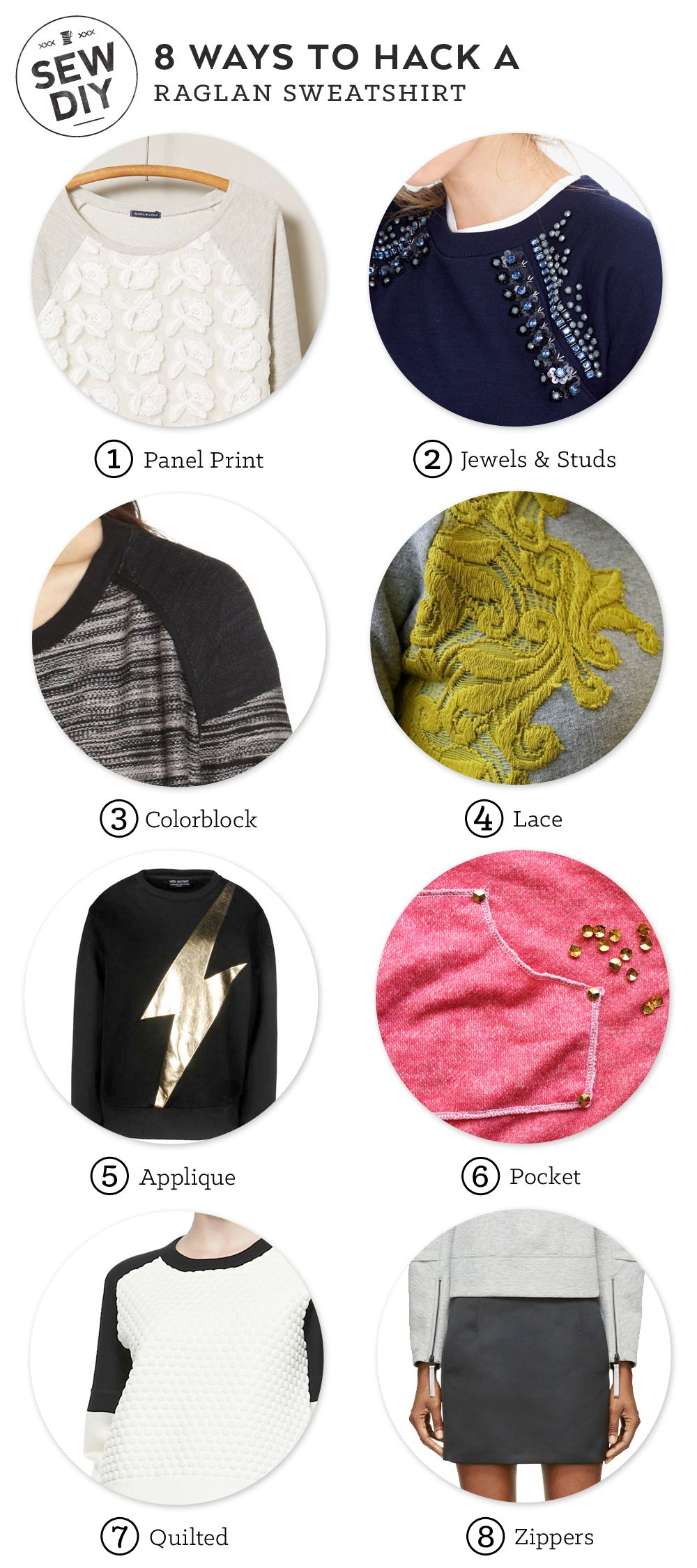 8 Ways To Hack A Sweatshirt Sew Diy Diy Sweatshirt Upcycle Clothes Fashion [ 2250 x 1000 Pixel ]