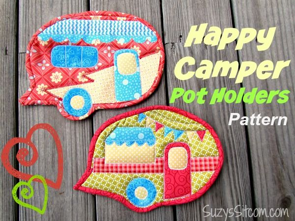Free Pattern Happy Camper Quilted Pot Holders Sewing