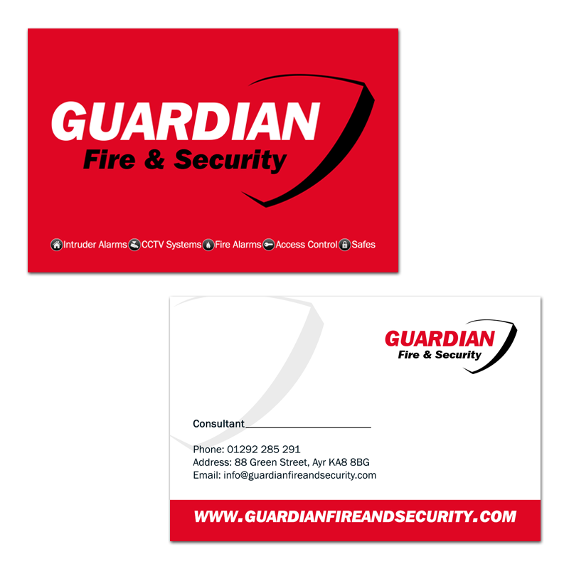 Business Card Design for Guardian Fire & Security