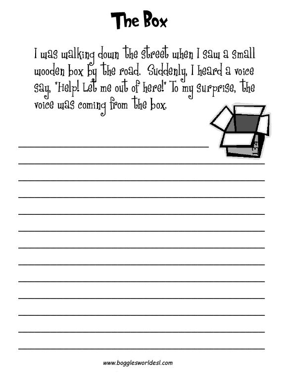 Esl Creative Writing Worksheets Elementary Writing Prompts