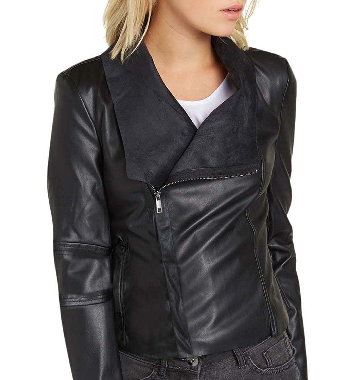 Damen Kunstlederjacke schwarz Gr.38: : Bekleidung