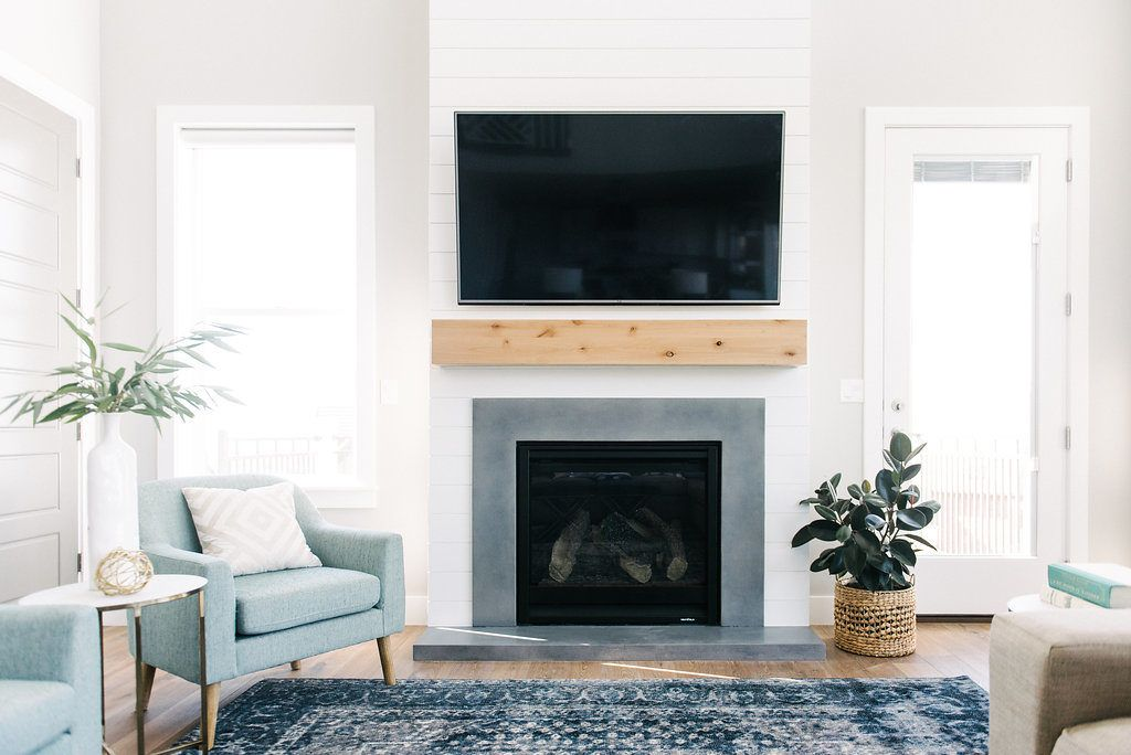 Shiplap Natural Wood And Concrete Surround Fireplace For A Modern Farmhouse Look With Industri Farmhouse Fireplace Living Room With Fireplace Fireplace Design