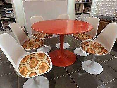 Retro Mid Century Orange Tulip Stem Dining Table And 6 Chairs 60s