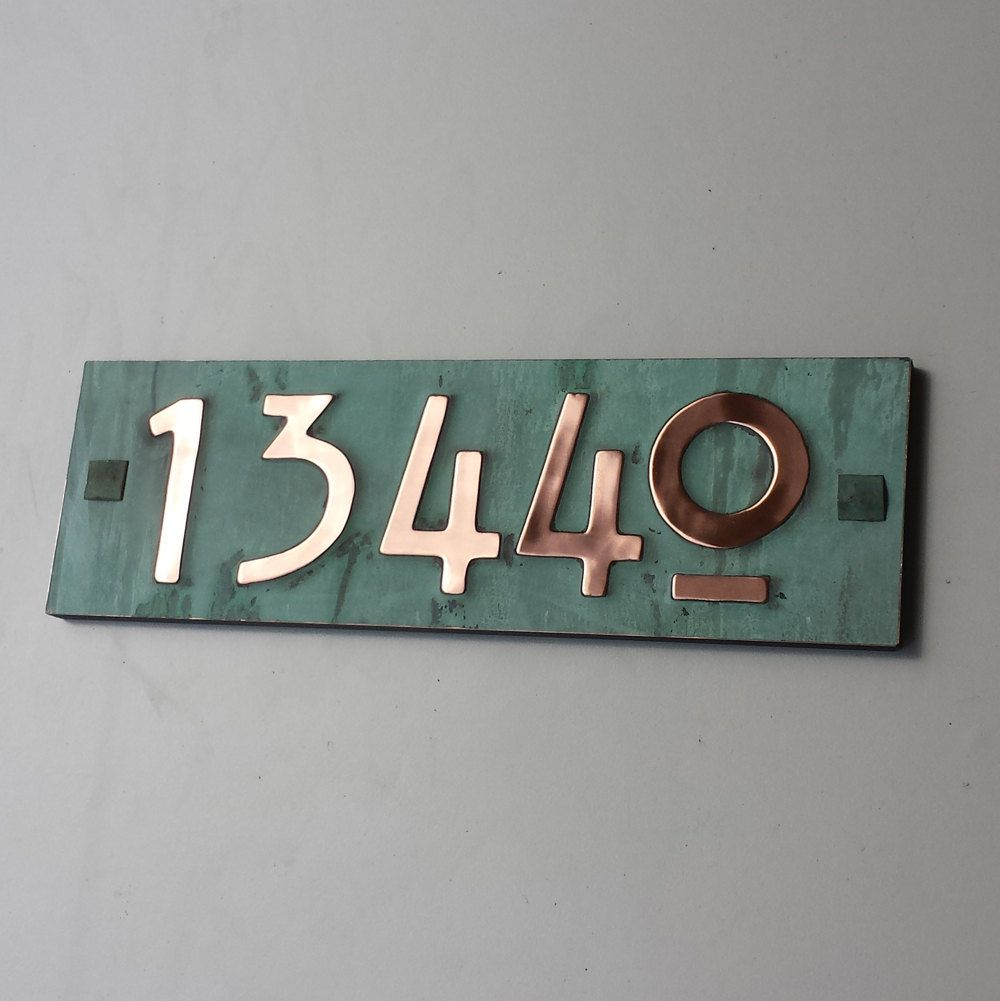 Mission Mackintosh Green Copper Address Plaque With Plywood Back 5x Numbers 3 75mm Or 4 100mm High D Plaque Green Copper Copper