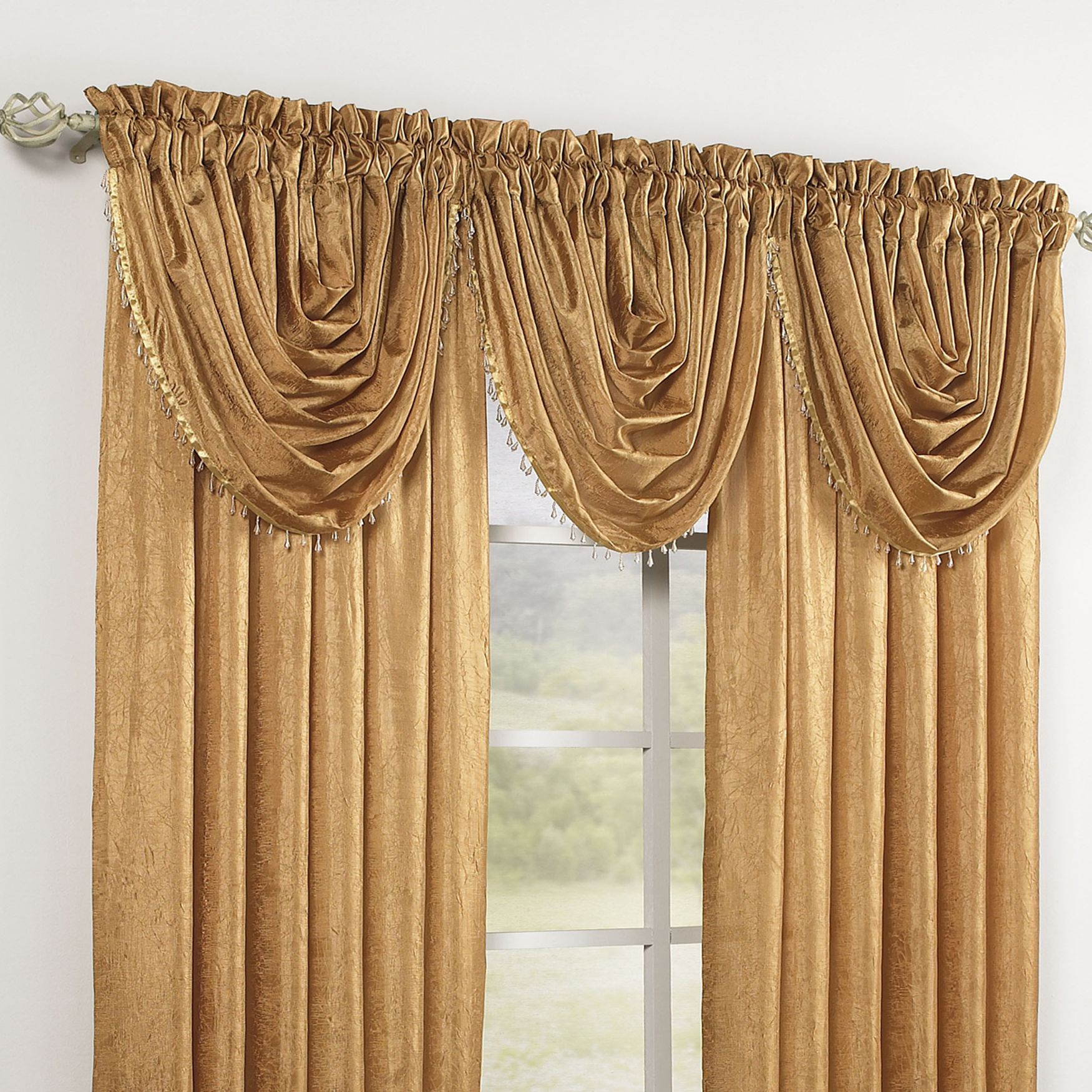 Crushed Taffeta Beaded Waterfall Valance Rod Pocket Panel Curtains Drapes Brylanehome