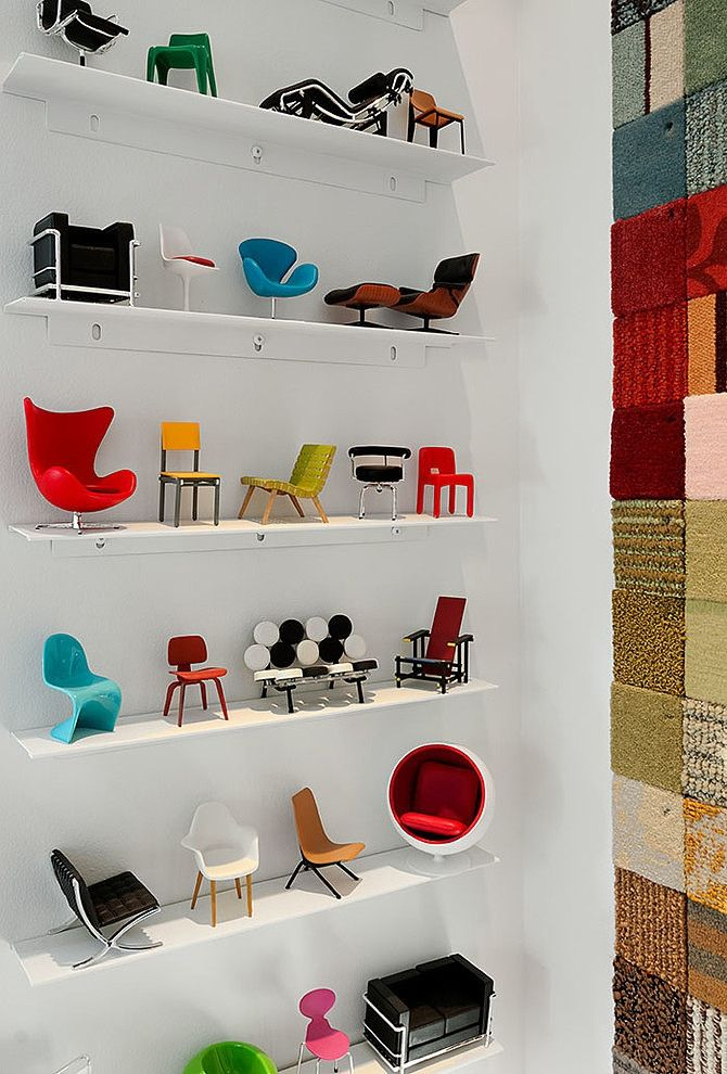 Some cute mini chairs. Website leads to Tumblr but after some research i discovered that these are The Vitra Mini Chairs collection. (Or most of them are from that from what i can tell)