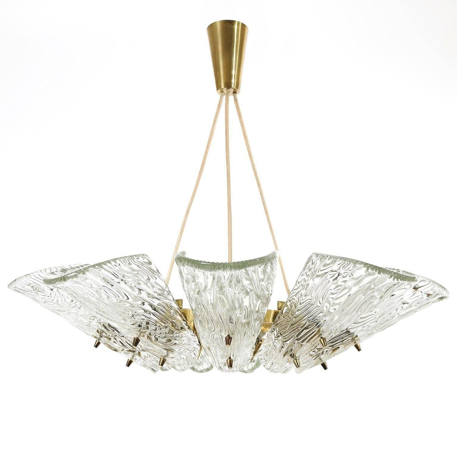 Two Large Kalmar Pendant Lights Or Chandeliers Brass And Glass