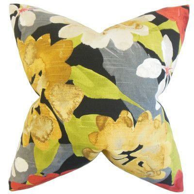 "The Pillow Collection Penrose Floral Cotton Throw Pillow Size: 20"" x 20"""