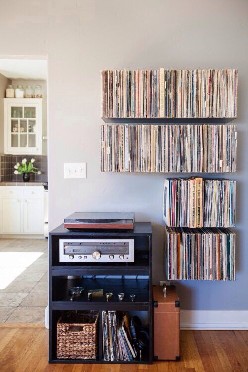 Floating Record Shelves By Mike Zimmerer Of Zimm Metalworks Via It Would Be Kind Cool To Have A Player And Wall Full Vinyl