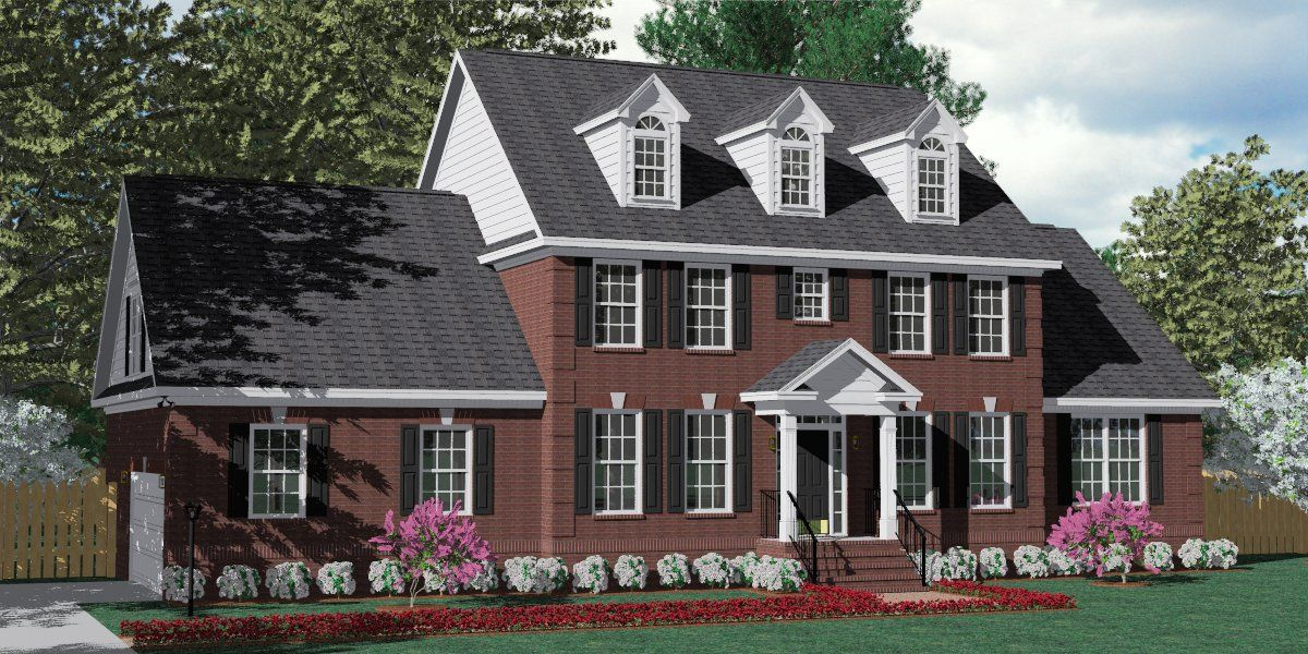 House plan 3120 c pendleton c with dormers traditional brick colonial design with large family - House plans dormers ...