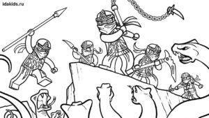 Раскраска Ниндзяго Лего Все герои бесплатно | Бесплатные ...