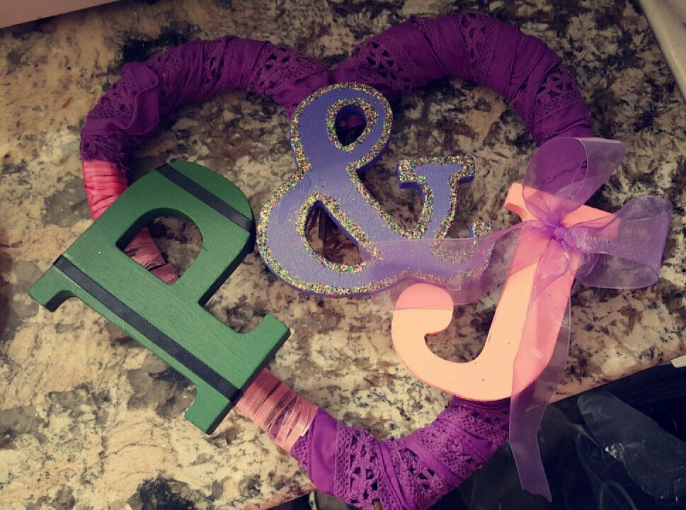 Alright everyone...i did my own #frontdoorhanger whats everyone think? #initials #doorhanger #ourfirsthome #firsthouse #ribbon #paintproject #crafts #diy #heart #projectsforcouples #monogram #twine