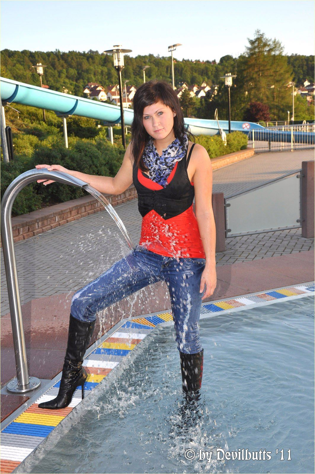Conny Black Leather Tall Boots Wet Set 23 2011 Pool