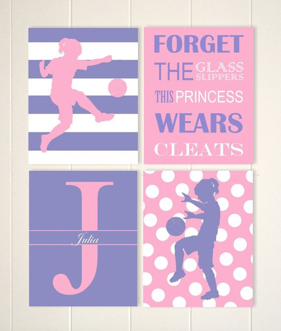 Teen Girl Wall Art pre teen girls wall art, soccer art, soccer girl, polkadot girls