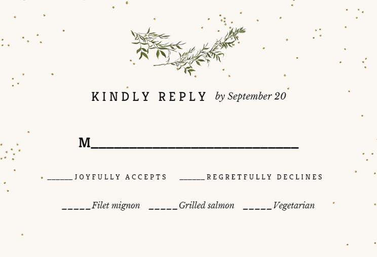 Olive Leaves Rsvp Card Template Free Greetings Island Wedding Invitations Leaves Wedding Invitation Templates Olive Leaf