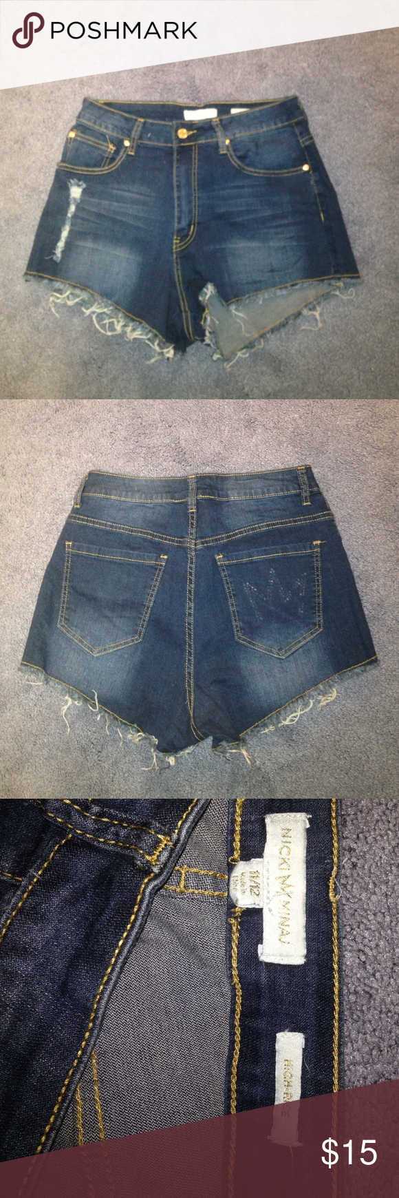 High waisted nicki Minaj shorts These shorts have only been worn about 3 times. They fit really well they are stretchy and not to tight around the waist. The back pocket has had the rhinestones come off but isn't too noticeable Shorts Jean Shorts
