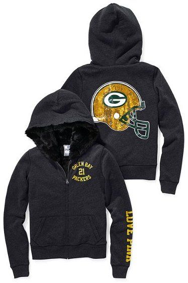Victoria s Secret Pink® Green Bay Packers Faux-fur-lined Bling Zip Hoodie  Sold Out thestylecure.com b130c0741