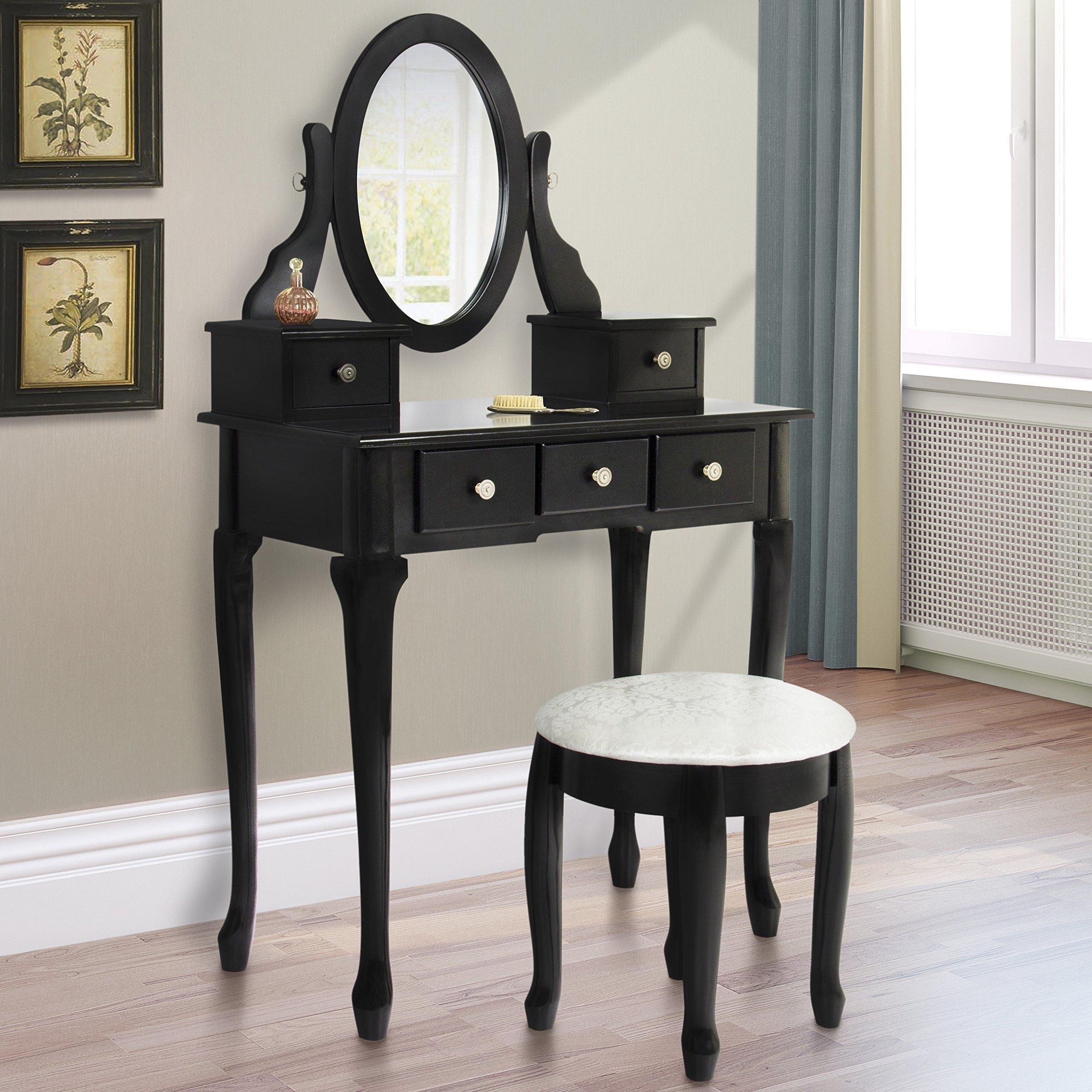 Best Choice Products Vanity Table Set Jewelry Makeup Desk Wood  Construction, Black