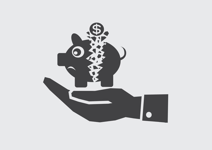 Hand And Broken Piggy Bank Vector Icons Illustration Free Vector Illustration Cartoon Styles