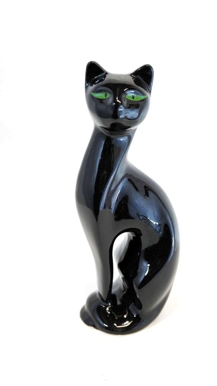 Vintage Kitschy Green Eyed Black Cat Ceramic Cat Figurine Statue