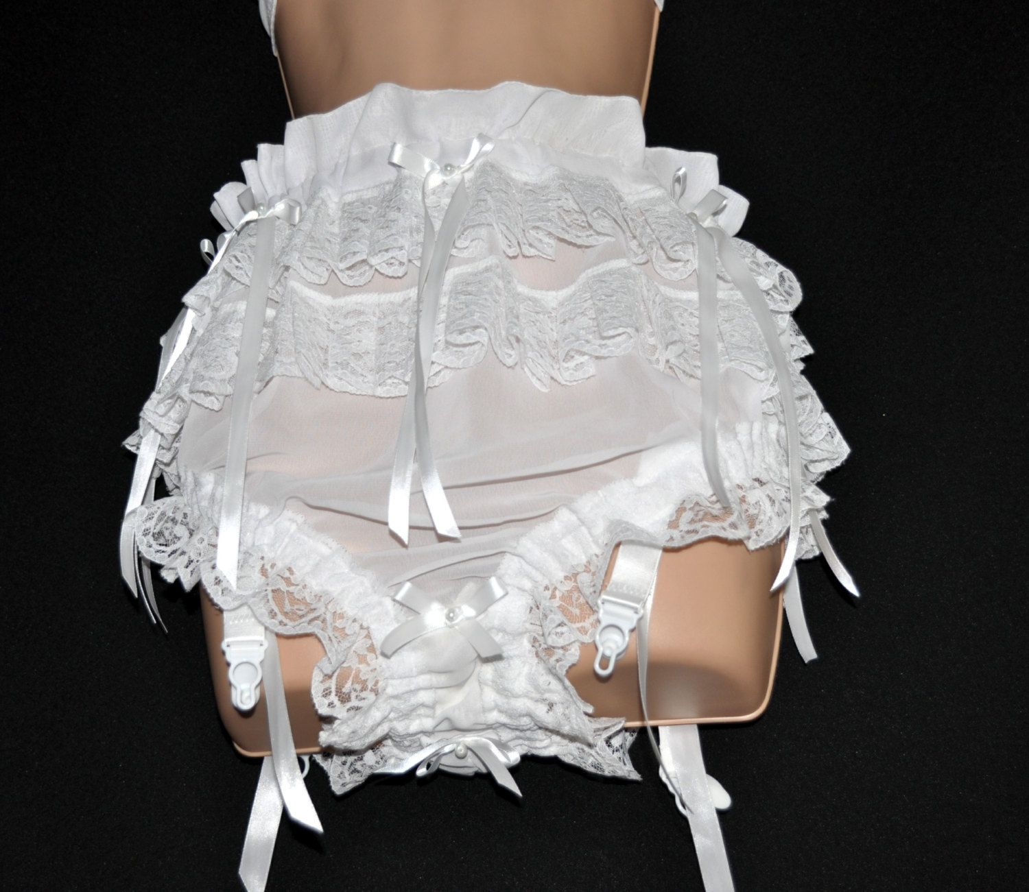 """ADULT BABY SISSY PINK  SATIN DRESS 44/"""" FRILLY HEM LACE CURVED SKIRT SATIN BOWS"""